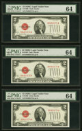 Small Size:Legal Tender Notes, Fr. 1508 $2 1928G Legal Tender Notes. Three Examples. PMG Choice Uncirculated 64.. ... (Total: 3 notes)