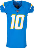 Football Collectibles:Uniforms, 2020 Justin Herbert Game Worn San Diego Chargers Rookie Jersey with Herbert Letter--12/6 vs. Patriots....