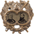 Political:Ferrotypes / Photo Badges (pre-1896), Greeley & Brown: Highly-Desirable Ornate Ferrotype Jugate....