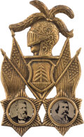 """Political:Ferrotypes / Photo Badges (pre-1896), Blaine & Logan: The Iconic """"Plumed Knight"""" Ferrotype Jugate. ..."""