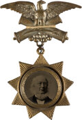 """Political:Ferrotypes / Photo Badges (pre-1896), Horace Greeley: Rare """"Star"""" Ferrotype Badge. ..."""