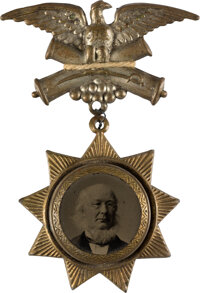 "Horace Greeley: Rare ""Star"" Ferrotype Badge"