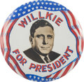 """Political:Pinback Buttons (1896-present), Wendell Willkie: A Highly Important, Unique 3 1/2"""" Celluloid Button. ..."""