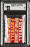 Football Cards:Unopened Packs/Display Boxes, 1952 Bowman Small Football One-Cent Wax Pack GAI Mint 9....