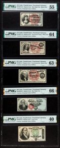 Fr. 1261, 1267, 1302, 1376 and 1379 Fourth Issue Courtesy Autograph Set PMG Graded