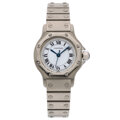 Estate Jewelry:Watches, Cartier Lady's Stainless Steel, White Gold Watch. ...