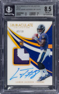 Football Cards:Singles (1970-Now), 2018 Immaculate Collection Lamar Jackson (Jersey Autograph-Gold) #116 , NM-MT+ 8.5, Auto 10 - #'d 2/10....