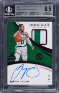 Basketball Cards:Singles (1980-Now), 2017 Immaculate Collection Jason Tatum (Jersey Autograph-Red) #126 BGS NM-MT+ 8.5, Auto 10 - #'d 24/25....