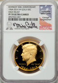 2014-W 50C High Relief, Gold Kennedy 50th Anniversary, Mike Castle Signature PR70 Ultra Cameo NGC. NGC Census: (1662). P...