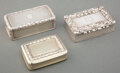 Silver & Vertu, Three English Partial Gilt Silver Snuff Boxes, London, early 19th century. Marks: (lion passant), (leopard's head), (duty ma... (Total: 3 )