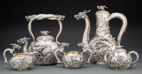 A Five-Piece Japanese Dragon-Form Coffee and Tea Service, 20th century Marks: Four-character mark, Kamiwaza 12 x 6-3/...
