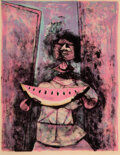 Prints & Multiples, Rufino Tamayo (1899-1991). Mujer con Sandia (Woman with Watermelon), 1950. Lithograph in colors on wove paper. 21-1/...