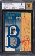 Baseball Cards:Singles (Pre-1930), 2001 Upper Deck Prospect Premieres Jackie Robinson (Tribute to 42) BGS EX 5, Auto 8....