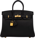 """Luxury Accessories:Bags, Hermès 25cm Black Swift Leather Birkin Bag with Gold Hardware. D, 2019. Condition: 2. 10"""" Width x 8"""" Height x 5"""" D..."""
