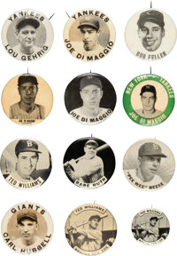 1950's PM10 Baseball Player Pins Collection (38) With Gehrig, Multiple DiMaggio and Williams