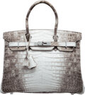 Luxury Accessories:Bags, Hermès 30cm Matte White Himalayan Niloticus Crocodile Birkin Bag with Palladium Hardware. M Square, 2009...