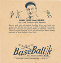Baseball Cards:Singles (1930-1939), 1936 R301 Overland Candy Wrapper Lou Gehrig. ...