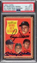 Baseball Cards:Singles (1960-1969), Signed 1962 Topps Mantle/Maris A.L. Home Run Leaders #53, PSA VG-EX 4, PSA/DNA Auto 10....