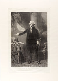 George Washington: Large Circa 1800 Engraving of Gilbert Stuart's Lansdowne Portrait
