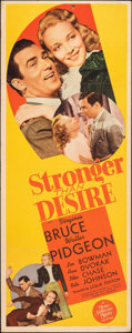 "Movie Posters:Drama, Stronger Than Desire (MGM, 1939). Folded, Fine/Very Fine. Insert (14"" X 35.75""). Drama.. ..."