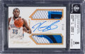 Basketball Cards:Singles (1980-Now), 2013 Panini Flawless Greats Dual Memorabilia Autographs Gold Kevin Durant #12 BGS NM-MT 8, Auto 10 - #'d 4/10....