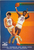Basketball Collectibles:Publications, 1978-79 New Orleans Jazz Multi-Signed Media Guide with Pete Maravich....