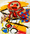 Paintings, Karel Appel (1921-2006). Promeneur, 1959. Collage and gouache on paper laid on canvas. 26-1/8 x 20-1/8 inches (66.4 x 51...