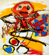 Karel Appel (1921-2006) Promeneur, 1959 Collage and gouache on paper laid on canvas 26-1/8 x 20-1