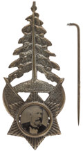 Political:Ferrotypes / Photo Badges (pre-1896), James G. Blaine: Highly Sought-After Pine Tree Ferrotype....
