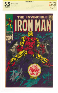 Iron Man #1 Verified Signature: Stan Lee (Marvel, 1968) CBCS FN- 5.5 Off-white pages