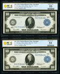 Changeover Pair Fr. 919a/919b $10 1914 Federal Reserve Notes PCGS Banknote About Unc 53. ... (Total: 2 notes)