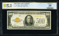 Small Size:Gold Certificates, Fr. 2407 $500 1928 Gold Certificate. PCGS Banknote Choice VF 35.. ...
