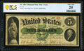 Large Size:Demand Notes, Fr. 1a $5 1861 Demand Note PCGS Banknote Very Fine 25.. ...
