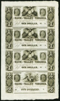Obsoletes By State:Virginia, Winchester, VA- Bank of the Valley in Virginia $1-$1-$1-$2 18__ G4-G4-G4-G8 Uncut Sheet Choice Crisp Uncirculated....