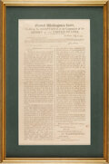 Political:Posters & Broadsides (pre-1896), George Washington: 1798 Broadside Accepting Command of United States Forces....