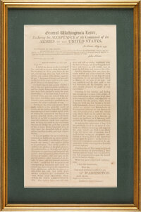 George Washington: 1798 Broadside Accepting Command of United States Forces