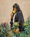 Paintings, Mathias Joseph Alten (American, 1871-1938). Taos Woman in Flowers, 1927. Oil on canvas. 40 x 32 inches (101.6 x 81.3 cm)...