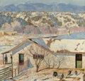 Paintings, Theodore Van Soelen (American, 1890-1964). Farmyard. Oil on canvas. 34 x 36 inches (86.4 x 91.4 cm). Signed lower right:...