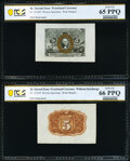 Fr. 1232SP 5¢ Second Issue Wide Margin Pair PCGS Banknote Gem Unc 66 PPQ and 65 PPQ