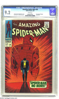 """Silver Age (1956-1969):Superhero, The Amazing Spider-Man #50 (Marvel, 1967) CGC NM- 9.2 White pages.Often-imitated but never surpassed, this """"Spider-Man No M..."""