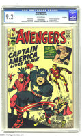 Silver Age (1956-1969):Superhero, The Avengers #4 U.K. Edition (Marvel, 1964) CGC NM- 9.2 Off-whitepages. Captain America is thawed out of retirement -- lite...