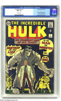 Silver Age (1956-1969):Superhero, The Incredible Hulk #1 (Marvel, 1962) CGC FN+ 6.5 Off-white pages.Doc Bruce Banner, pelted by gamma rays, turned into the H...