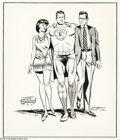 Original Comic Art:Sketches, Wayne Boring - Superman, Lois Lane, and Clark Kent Sketch Original Art (undated). Superman has his arms around both Lois Lan...