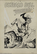 "Original Comic Art:Splash Pages, Maurice Del Bourgo - Classics Illustrated #106 ""Buffalo Bill""Splash Page Original Art (Gilberton, 1953). Maurice Del Bourgo..."