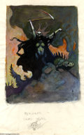 Original Comic Art:Sketches, Frank Frazetta - Woman With a Scythe Study Sketch Original Art (Undated). This small pencil and watercolor study for Frazett...