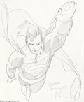 Original Comic Art:Sketches, Adam Hughes - Superman Illustration Original Art (undated). Nicely detailed (and huge!) convention sketch by the legendary A...