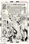 Original Comic Art:Covers, Jack Kirby and Mike Royer - Forever People #9 Cover Original Art (DC, 1972). Hold onto your mother-box folks, this cover, in...