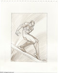 Original Comic Art:Sketches, Moebius - Silver Surfer Sketch Original Art (2001). The Silver Surfer clutches his side as he surfs the skyways. Moebius has...