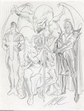 Original Comic Art:Sketches, Alex Ross - Union Jack, King Britain, Black Knight, and Dragon Man Sketch Original Art (undated). Alex Ross assembles the Ma...