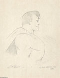 Original Comic Art:Sketches, Joe Shuster - Superman Sketch Original Art (1979). Joe Shusterdraws the profile of his famous co-creation, Superman, the Ma...